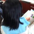 カット前のスタイルです!!  本を読みながら、賢くカットささてくれました(^-^)/