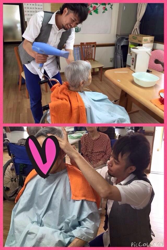 老人ホーム 介護施設 病院 自宅療養の方にも出張カットに行かせていただいております。 理容師 美容師 両国家資格を取得しているので様々な技術に対応しているので安心です! シェービングの技術がとても、お年寄りの方々には好評です! カットして、お顔そりもさせていただくと10歳は若がります(^-^)/