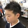 新一年生の男の子です。カット シェービングでスッキリカッコ良くなりました(^-^)/