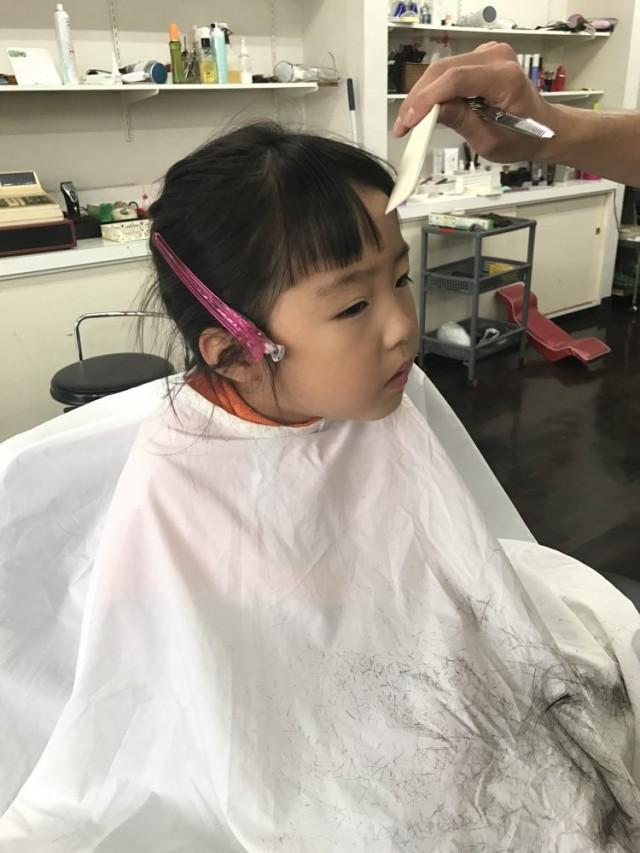 年中さん 4歳の女の子です! 前髪をスッキリ カットして シェービングもして可愛くなりました(^-^)/