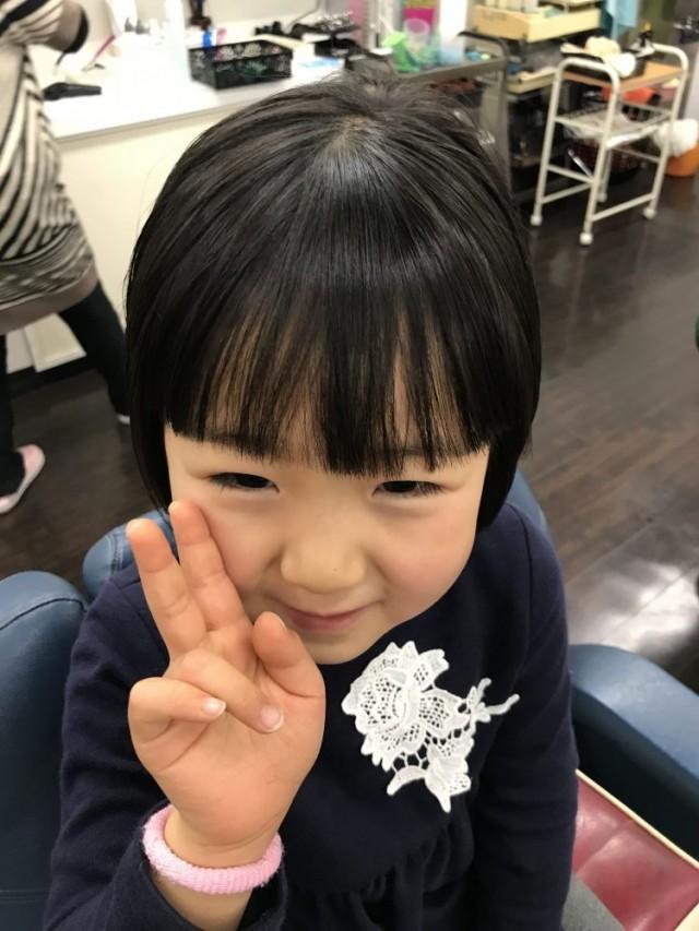 前髪もスッキリ短く、お顔をも シェービング お顔そり で綺麗に可愛いなりまして(^-^)/ ピースして、喜んでくれたます♫