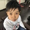 ダンスの発表会前に来店してくれた小学生の男の子チャンです(^-^)/ カット シェービングでで大変身!! ツーブロック アシメ ウルフ スタイルです。