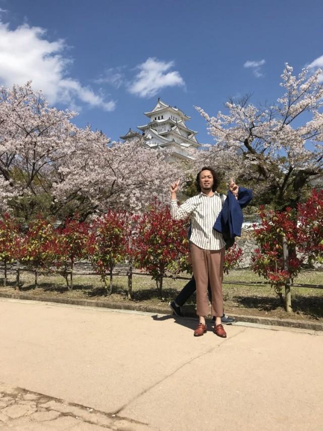 せっかく来たので、世界遺産でもある姫路城へ!!まだまだ桜も綺麗でした^_^!