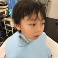 年長さんの 男の子 卒園式 入園式 前にカットです。